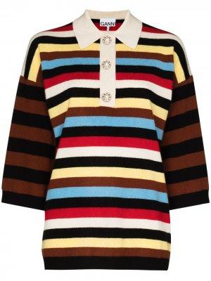 Рубашка поло в полоску GANNI. Цвет: белый
