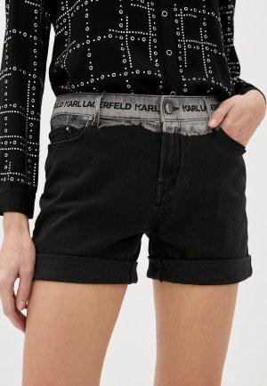 Шорты джинсовые Karl Lagerfeld Denim. Цвет: черный