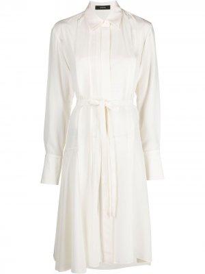 Платье с длинными рукавами и складками Joseph. Цвет: белый