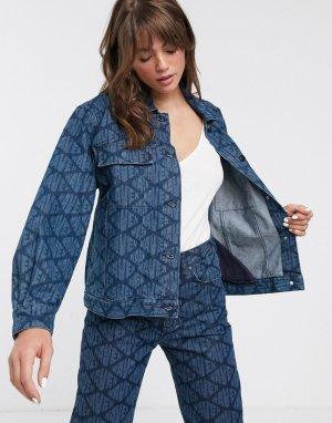 Джинсовая куртка бойфренда с логотипом Karin-Синий Waven