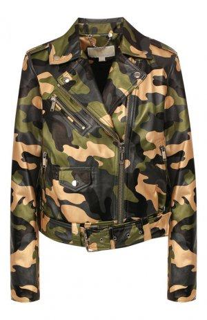 Кожаная куртка MICHAEL Kors. Цвет: хаки
