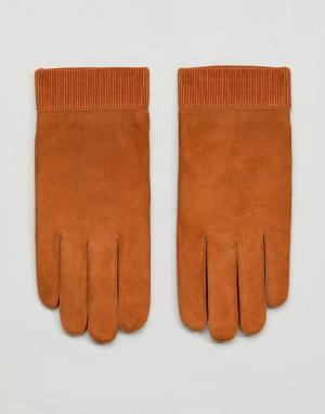 Кожаные перчатки Weekday. Цвет: коричневый