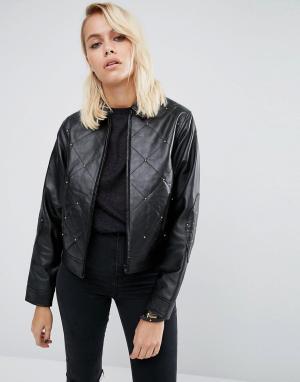 Кожаная куртка с заклепками в стиле 80-х ASOS. Цвет: черный