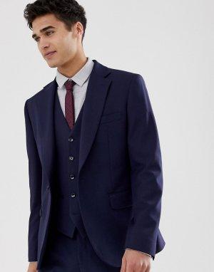 Темно-синий приталенный пиджак Moss London BROS