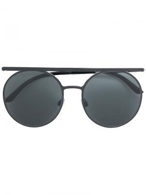 Солнцезащитные очки Runway в круглой оправе Giorgio Armani. Цвет: чёрный
