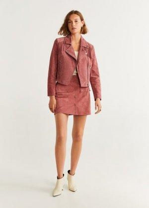 Кожаная юбка - Emilia Mango. Цвет: розовый