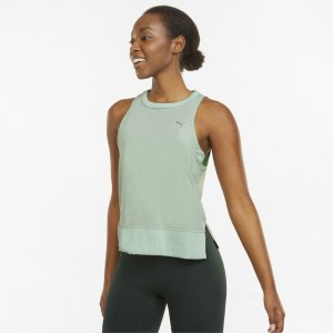 Майка Studio Sleeveless Open Back Womens Training Tank Top PUMA. Цвет: зеленый