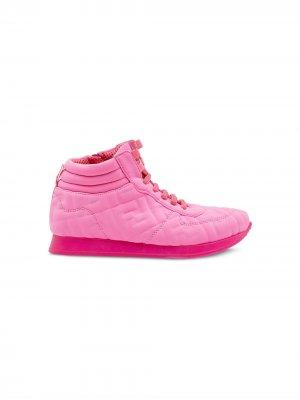 Кроссовки с тисненым логотипом Fendi Kids. Цвет: розовый