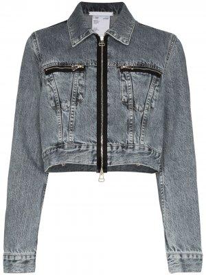 Укороченная джинсовая куртка на молнии Helmut Lang. Цвет: серый