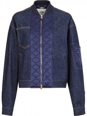 Джинсовая куртка со стегаными вставками Fendi. Цвет: синий
