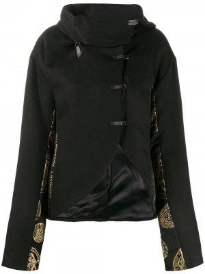 Жаккардовый пиджак 1998-го года асимметричного кроя Romeo Gigli Pre-Owned. Цвет: черный