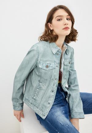 Куртка кожаная Pinko. Цвет: голубой