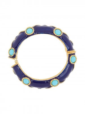 Декорированный браслет-бэнгл Kenneth Jay Lane. Цвет: синий