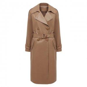 Кожаное пальто DROMe. Цвет: бежевый