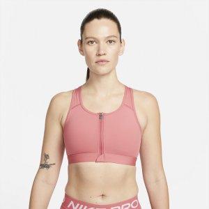 Спортивное бра со средней поддержкой, вкладышем и застежкой спереди Dri-FIT Swoosh - Розовый Nike