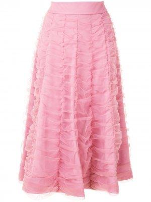 Расклешенная юбка с драпировкой Gloria Coelho. Цвет: розовый
