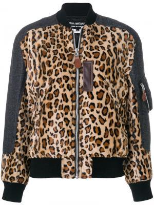 Куртка-бомбер со звериным принтом Junya Watanabe Comme Des Garçons. Цвет: коричневый