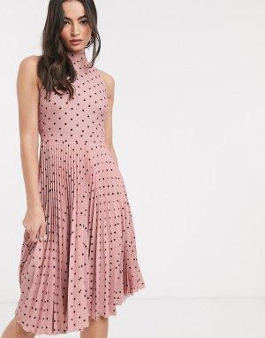 Плиссированное платье миди в горошек -Многоцветный Closet London