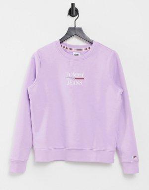 Лиловый свитшот узкого кроя с круглым вырезом и логотипом -Фиолетовый цвет Tommy Jeans