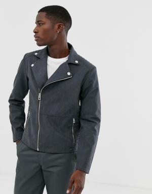Серая байкерская куртка из искусственной замши -Серый Esprit