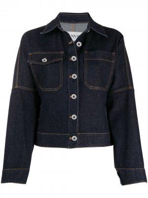 Джинсовая куртка с контрастной строчкой LANVIN. Цвет: синий
