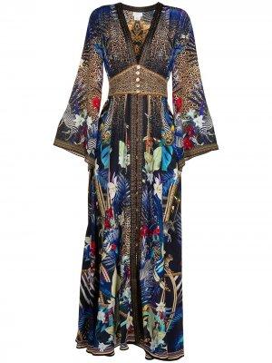 Платье макси с вышивкой Camilla. Цвет: разноцветный