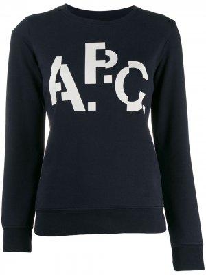 Джемпер с контрастным принтом A.P.C.. Цвет: синий