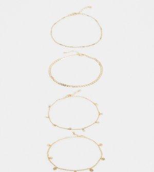 4 золотистых ножных браслета с кристаллами и подвесками ASOS DESIGN Curve-Золотой Curve
