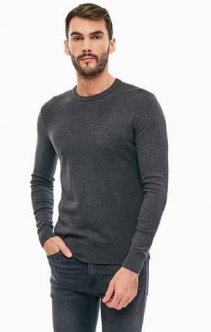 Хлопковый джемпер с круглым вырезом Calvin Klein Jeans. Цвет: серый