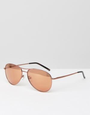 Солнцезащитные очки-авиаторы оттенка розового золота Carter Ted Baker. Цвет: золотой