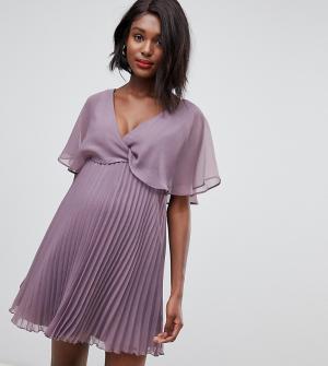 Платье мини с рукавами клеш и плиссированной юбкой ASOS DESIGN Maternity-Розовый Maternity