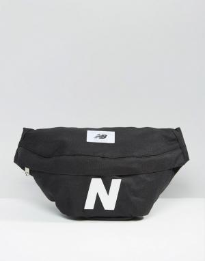 Черная сумка-кошелек на пояс Mellow New Balance. Цвет: синий