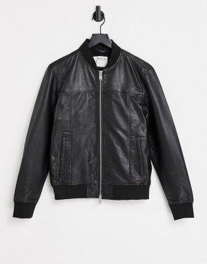 Черная кожаная куртка -Черный цвет Selected Homme