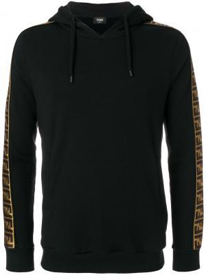 Толстовка с капюшоном и боковыми вставками Fendi. Цвет: черный