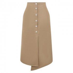 Хлопковая юбка Tibi. Цвет: бежевый
