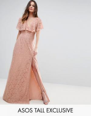 Кружевное платье макси с открытой спиной ASOS TALL. Цвет: фиолетовый