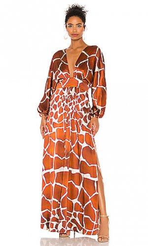 Макси платье lila retrofete. Цвет: коричневый
