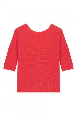 Кашемировый джемпер с укороченными рукавами Maje. Цвет: розовый
