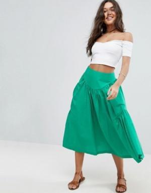 Юбка миди с большими карманами ASOS. Цвет: зеленый