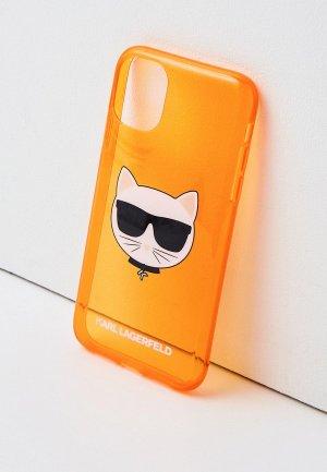 Чехол для iPhone Karl Lagerfeld 11, TPU FLUO Choupette. Цвет: оранжевый