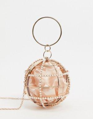 Клатч в форме шара с декоративной отделкой -Золотой ASOS DESIGN