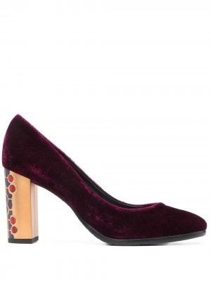 Бархатные туфли на высоком каблуке Baldinini. Цвет: фиолетовый