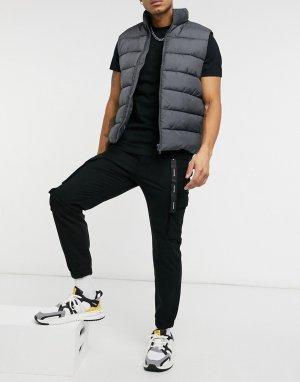 Черные брюки-карго с отделкой -Черный Bershka