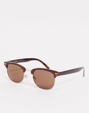 Солнцезащитные очки в черепаховой оправе с золотистой отделкой -Коричневый AJ Morgan