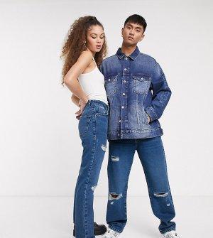 Синие прямые джинсы в стиле 000-х COLLUSION x000 Unisex-Синий