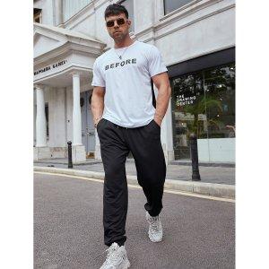 Мужской с текстовым принтом Футболка & карманом Спортивные брюки SHEIN. Цвет: черный и белый