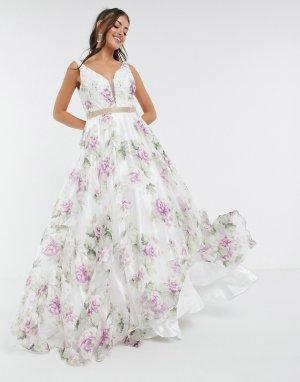 Платье макси с расклешенной юбкой, глубоким вырезом и цветочным принтом -Многоцветный Jovani