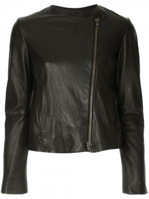 Asymmetric leather jacket Vince. Цвет: черный