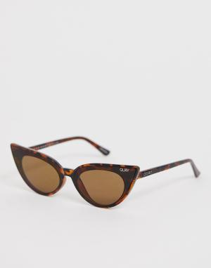 Солнцезащитные очки кошачий глаз в черепаховой оправе -Коричневый Quay Australia