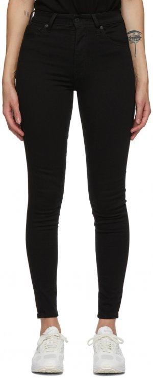 Levis Black Mile High Super Skinny Jeans Levi's. Цвет: black galax
